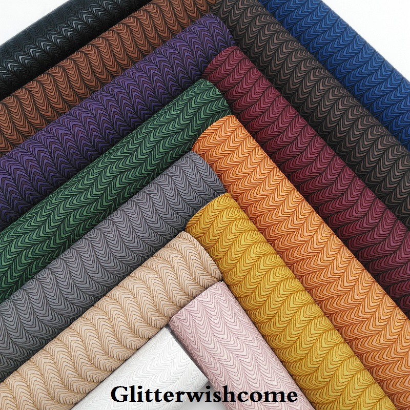 Glitterwishcome 21X29CM A4 Size Vinyl For Bows Embossed Leather Fabirc Faux Leather Sheets For Bows, GM146A