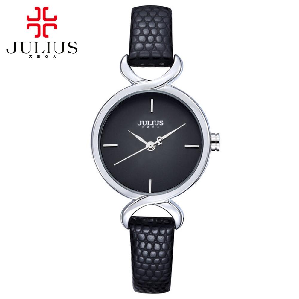 Prix pour Chaude en cuir montre-bracelet femmes robe montres Femme mode casual Miyota quartz montre meilleur horloge Julius marque 694 Livraison Gratuite