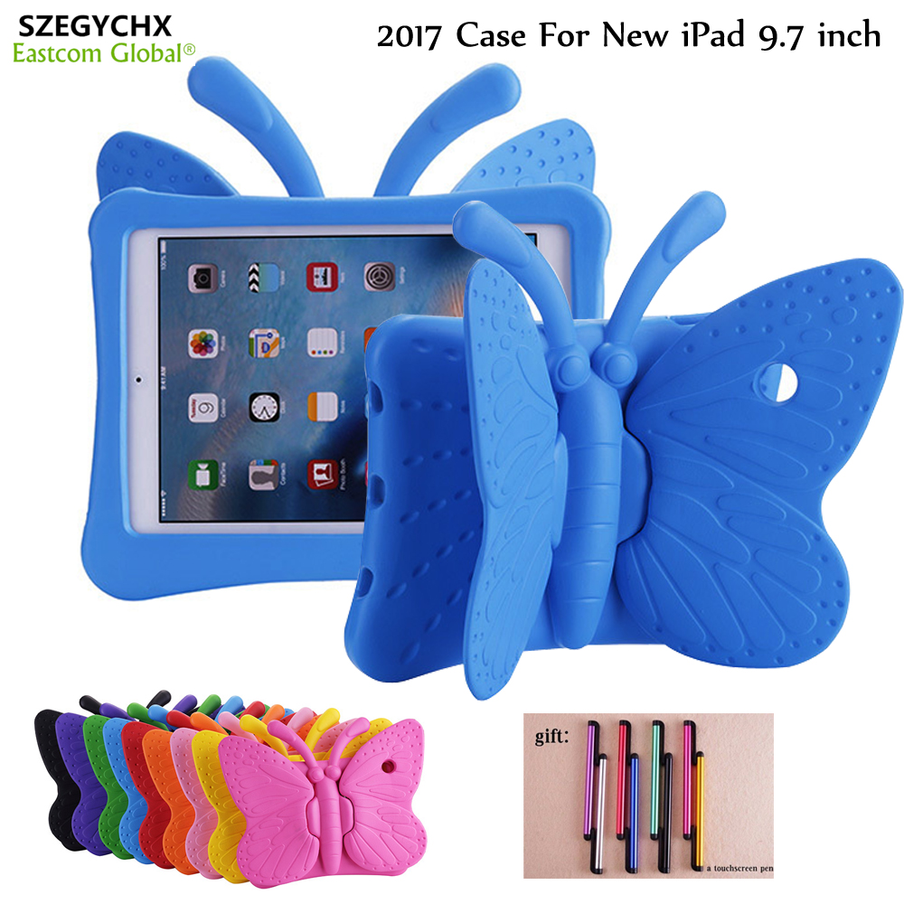 3D Cartoon Butterfly Stand Tablet Case For New iPad 9.7 inch 2017 2018 / Air 1 / Air 2 / Pro 9.7  Series Universal Case Cover