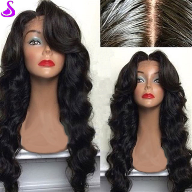 Cheap Synthetic Wig For Black Women Perucas Pelo Long Black Hair Kanekalon Wig  Synthetic Lace Front Wigs Can Do middle side part b933d4523e