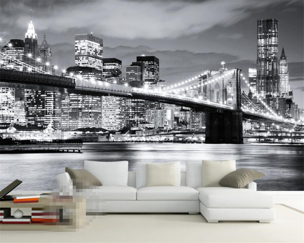 Beibehang Custom Wallpaper Living Room Bedroom Mural 3D Wallpaper New York Bridge Scenery Black and White Landscape Mural photo brooklyn bridge pop up card 3d new york souvenir cards