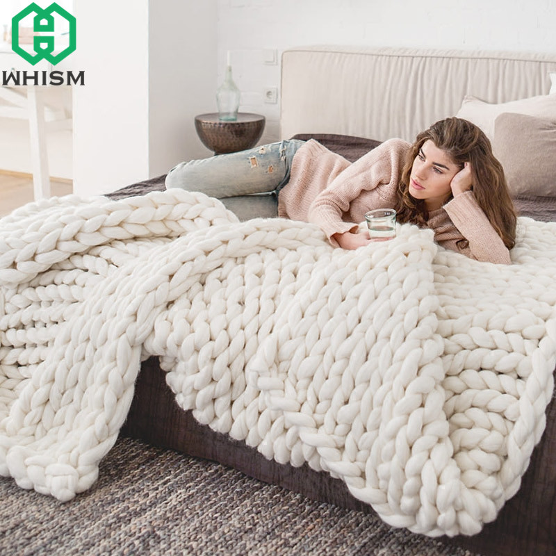 WHISM Handmade Chunky Knit Blanket Woven Blanket Thick