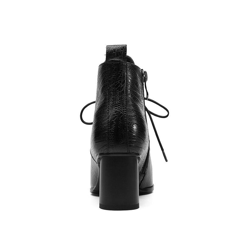 ISNOM nueva impresión de cuero genuino botas de tobillo de mujer puntiagudas zapatos de encaje botas de mujer zapatos de tacones altos gruesos de mujer 2018-in Botas hasta el tobillo from zapatos    3