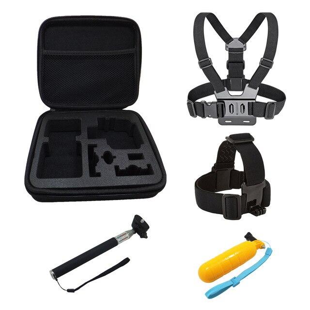 Peito + Cabeça Belt + Bobber Flutuante + Auto Vara + Saco De Armazenamento, mount Para go pro acessórios gopro hero 5 4 Set Câmera do esporte Da Ação
