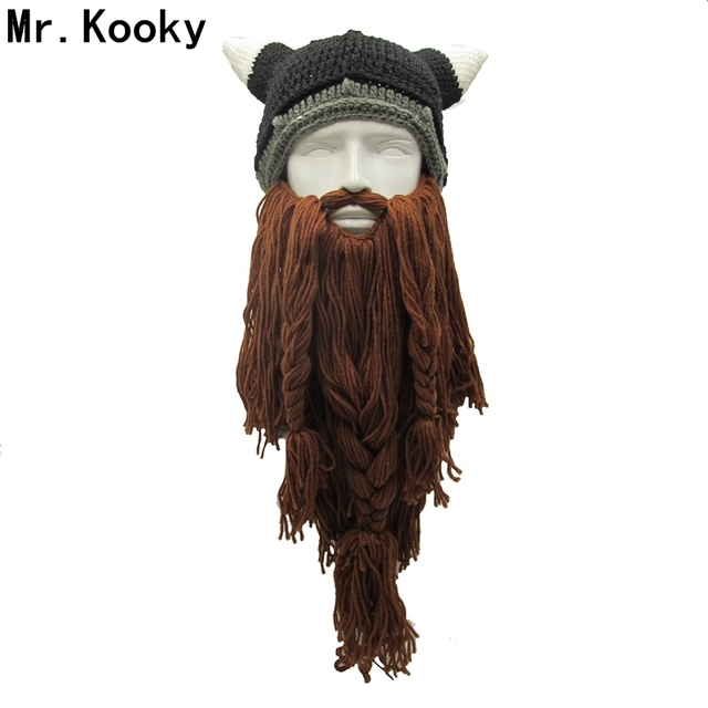 Mr.Kooky Men s Barbarian Vagabond Viking Beard Beanie Horn Hats Handmade  Winter Warm Birthday Cool Gifts Funny Gag Halloween Cap b1fba84d9ff