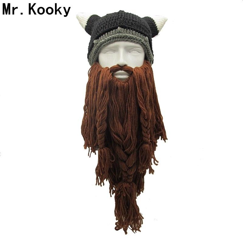 Mr. kooky Männer der Barbar Vagabond Viking Bart Beanie Horn Hüte Handgemachte Winter Warm Geburtstag Coole Geschenke Lustige Gag Halloween Kappe