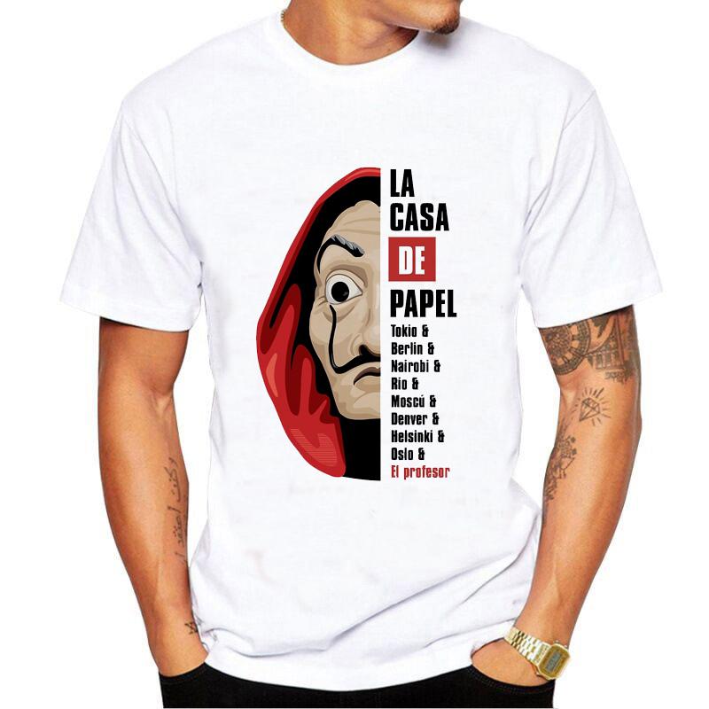 Masculino T shirt Engraçado Design La Casa de Papel T Shirt Homens Dinheiro Assalto Tees TV Série Homens de Manga Curta casa de Papel T-Shirt Topos