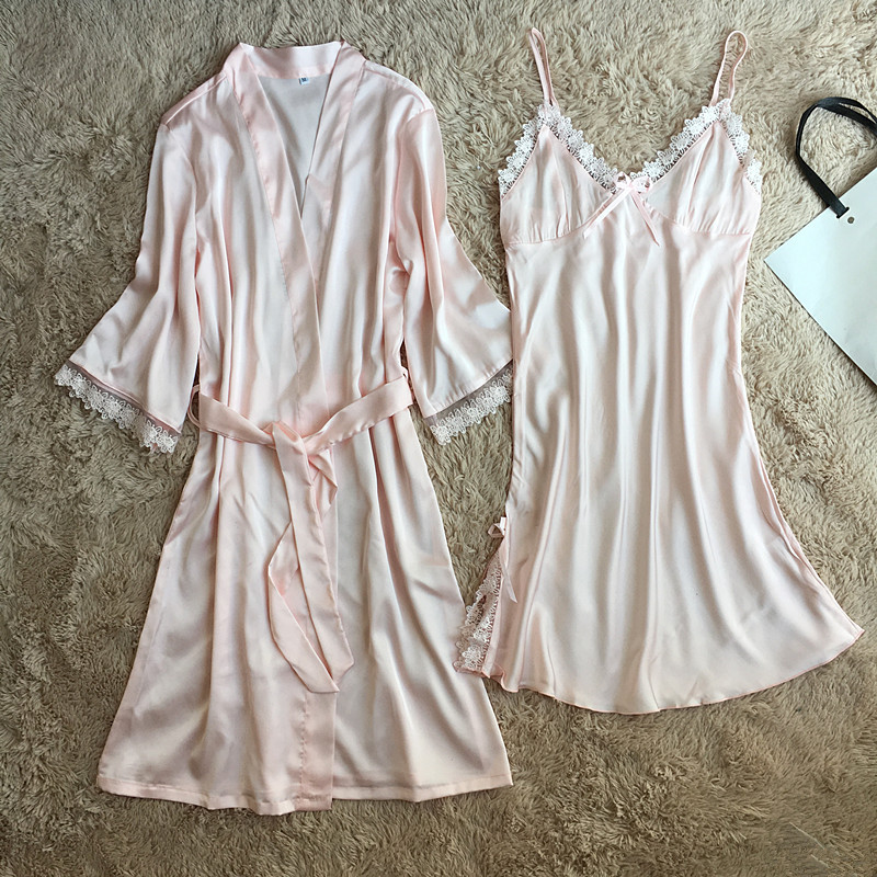 New Bat Sleeve Sleepwear Pink Nightgown Wedding Bride Bridesmaid Summer Women Sexy Lace Intimate Lingerie Kimono Bathrobe M-XXL