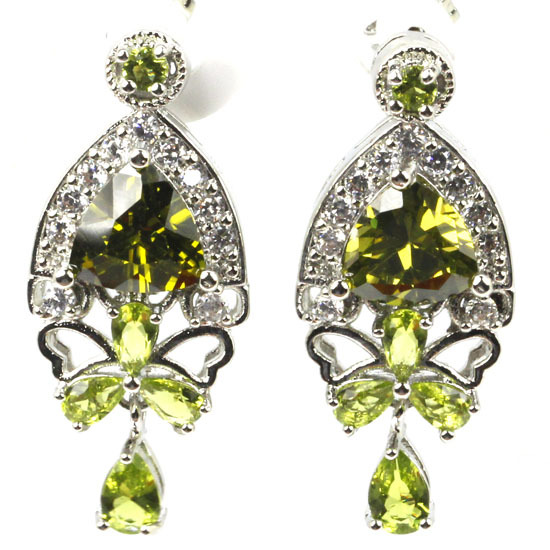 Pretty Created Green Peridot, White CZ SheCrown Woman's Engagement  Silver Stud Earrings 33x15mm