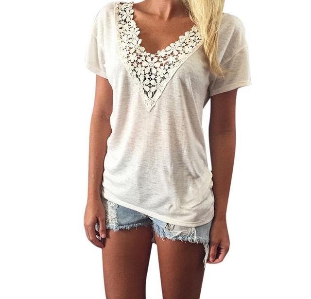 T-shirt Femme 2017 Blanc Dentelle Sexy Col V À Manches Courtes T chemise  Femmes 70de1632f2c
