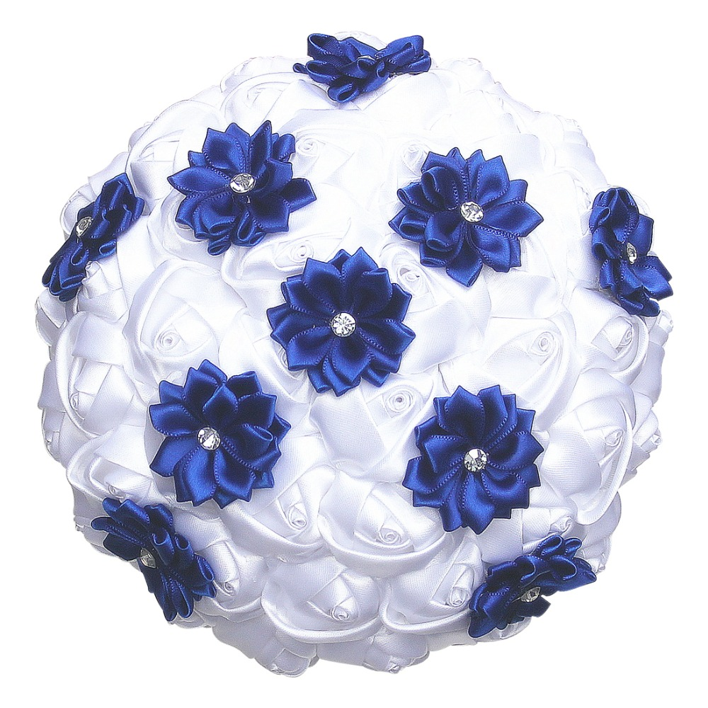 White Satin Roses Royal Blue Flower Wedding Bouquet Diamond
