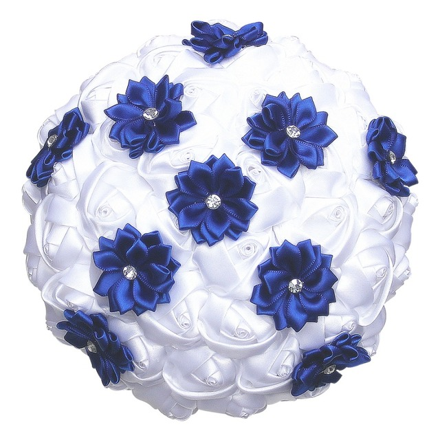 White Satin Roses Royal Blue Flower Wedding Bouquet Diamond Artificial Flowers De Mariage Ramos