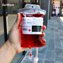 OurWarm 20Pcs 400ml Clear Food Grade PVC Blood Juice Drink Bag with Syringe Drink Bar Party Beverage Bag Halloween Decoration