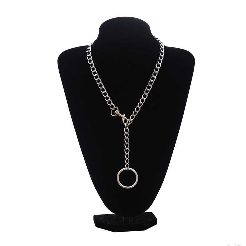 Fashion silver Chain Choker Necklace for Women /Men long chain necklace pendant Punk Rock Gothic Metal Chain Collar with O Round