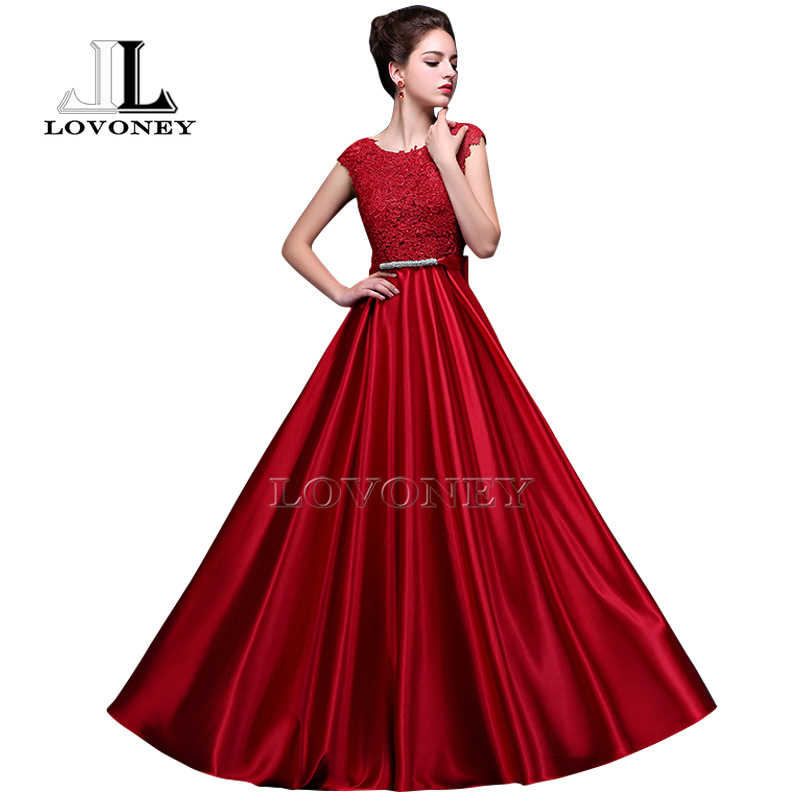 LOVONEY A-Line Elegant Plus Size Evening Dresses Long Prom Dresses ...