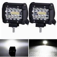 4 дюймов светодиодный рабочий свет 60 Вт барная лампочка 12 в 24 В освещающие огни для грузовиков светодиодный противотуманный свет бар для внедорожного города автомобиля ATV Лодка внедорожник