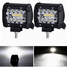 4 inch LED Work Light 60W Bar Bulb 12V 24V Spot Flood Lights for Trucks Led Fog Light Bar for Offroad Town Car ATV Boat SUV(China)