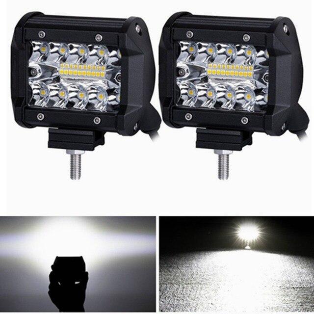 4 inch LED Work Light 60W Bar Bulb 12V 24V Spot Flood Lights for Trucks Led Fog Light Bar for Offroad Town Car ATV Boat SUV