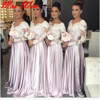 2019 Cheap Lilac Bridesmaid Dresses Wedding Party Gown Sweetheart Long Sleeve Lace Appliques Plus Size Maid of Honor Gown BE94