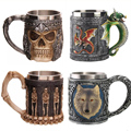 Personalized Double Wall Stainless Steel 3D Skull Mugs Coffee Cup Mug Skull Knight Tankard Dragon Drinking Cup Canecas Copo
