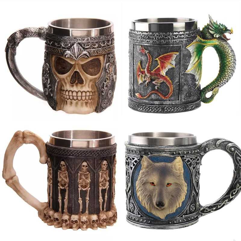 Personalized Double Wall Stainless Steel 3D Skull Mugs Coffee <font><b>Cup</b></font> Mug Skull <font><b>Knight</b></font> Tankard Dragon Drinking <font><b>Cup</b></font> Canecas Copo