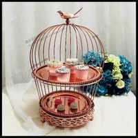 1 PCS Europea in oro rosa doppio creativo gabbia di uccello spuntino stare multi-strati dessert cornice di nozze West Point torta piastra