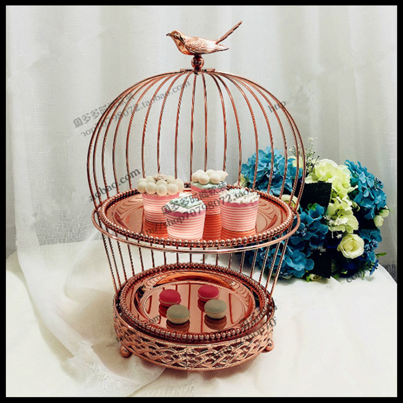 1 PCS European rose gold double creative bird cage snack stand multi layer dessert frame wedding West Point cake plate