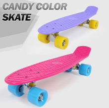 New 22″ Skateboard Pastel Skate Board Scooter Style Colorful Decks Retro Cruiser Complete Skateboard Bearing ABEC7 Longboard