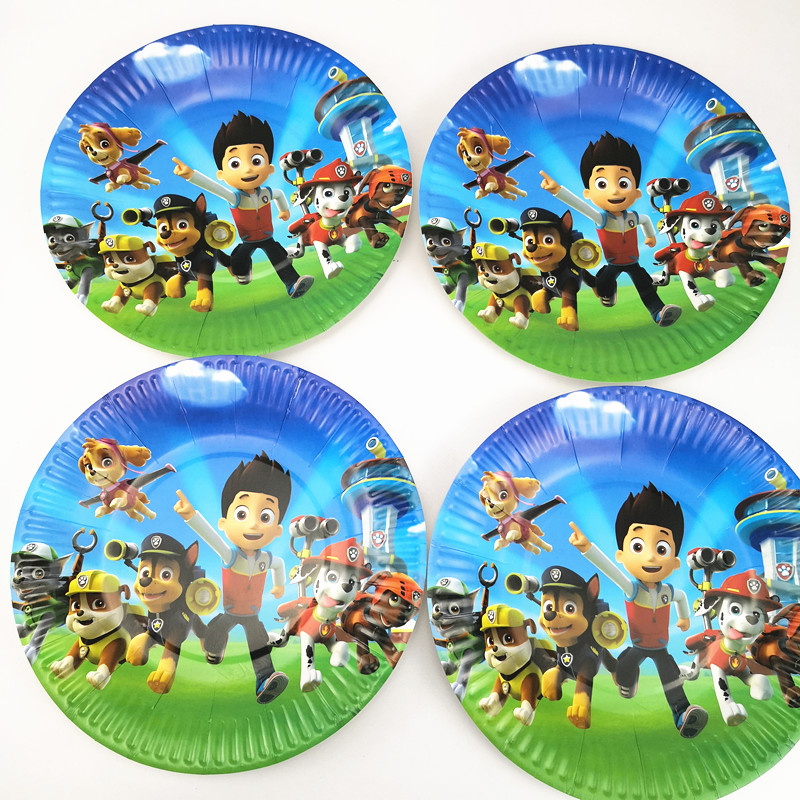 21pcs Disposable Party Tableware Puppy Canine Dog 1ps TableCloth +10 cups+10 Paper plate Kids Boy Birthday Party Decoration