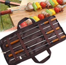 Outdoor barbecue,GaiaBBQ B05,5 pcs,Stainless steel needle wooden handle with slices of roast BBQ sticks 5 suit