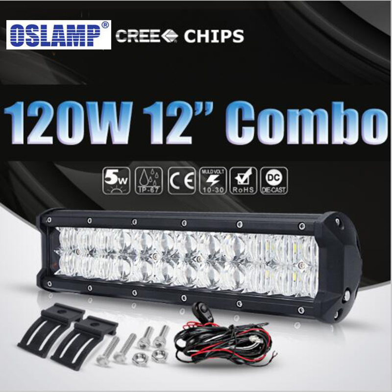 Oslamp 12 120W Cree Chips 5D Lens Led Work Light Bar Combo Beam Offroad Light for ATV SUV RZR 4WD 4X4 Boat Truck Car Headlight oslamp 32 300w cree chips led work light bar offroad led bar lights combo beam led driving lamp for truck suv 4x4 4wd 12v 24v