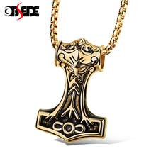 OBSEDE Trendy Jewelry Thor Hammer Axe Pendants Necklace Men Titanium Stainless Steel Gifts For Boyfriend VINTAGE Carving(China)