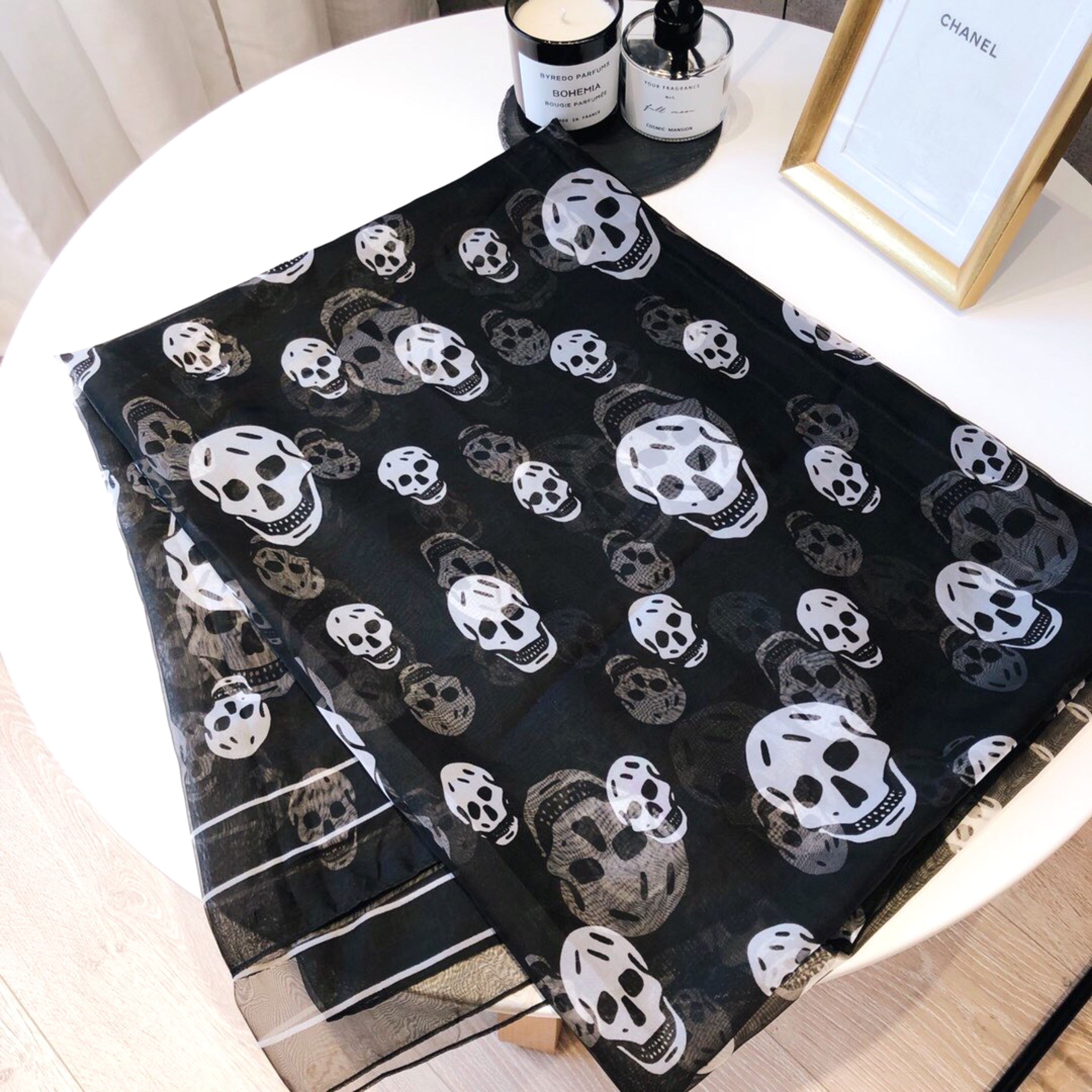Luxury Brand Silk Scarf	Classic Skull Scarf Female Spring And Autumn New Ghost Head Printing Seaside Sunscreen Beach Towel Shawl