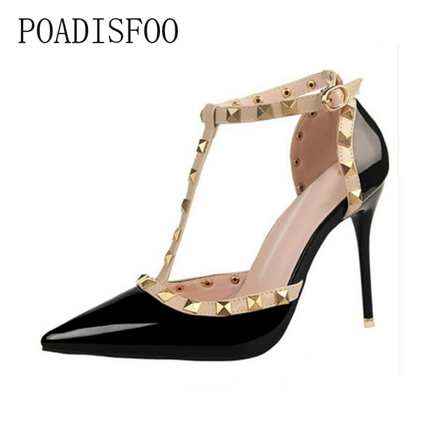 Pumps 2017 Women's shoes Summer style fashion female sandals rivet Metal decoration pu leather style women high heels .XL-868