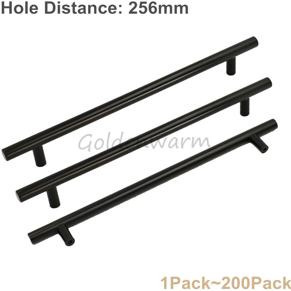 256mm Hole Distance Furniture Handle Black Stainless Steel T Bar Cabinet Handles Modern  ...