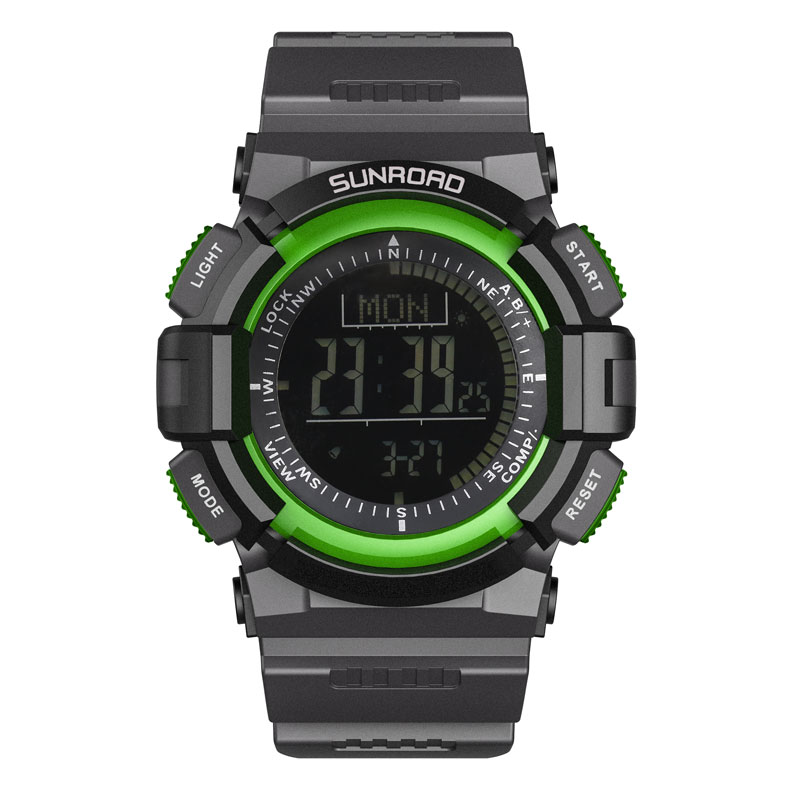 SUNROAD Sports Men Watch FR822B-New Arrival Digital Compass Barometer Watches Altimeter Pedometer Green Clock Relogio Watch Men sunroad 2018 new arrival outdoor men sports watch fr851 altimeter barometer compass pedometer sport men watch with nylon strap