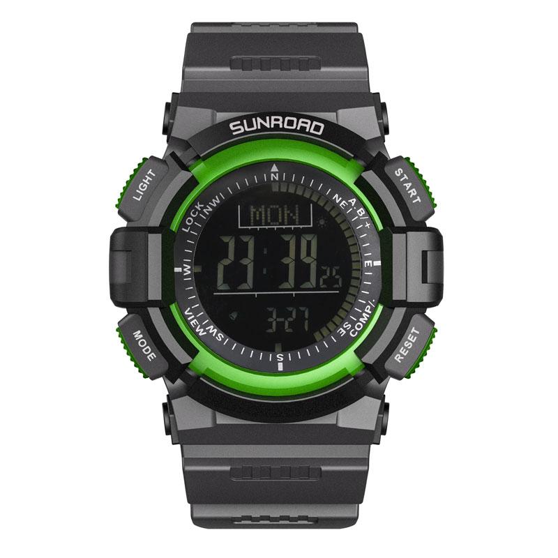 цена на SUNROAD Sports Mens Wrist Watch FR822B-Digital Compass Barometer Watches Altimeter Pedometer Green Clock Relogio Watch Men