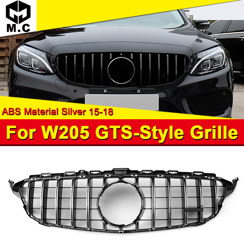 W205 Front Grille GTS Style Without Camera Hole Fit For Sport C180 C200 C250 ABS Silver Bumper Mesh 2015-2018