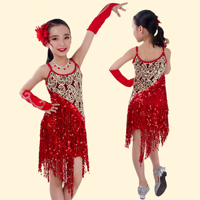 c88f2ae90c2d Child latin performance wear Sling Sequin kids latin dance costume ...