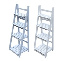 4 Tier Wooden Flower Stand Plant Shelves Garden Home Flower Balcony Shelf Ladder Display Standing Folding Flower Shelf Dish Rack