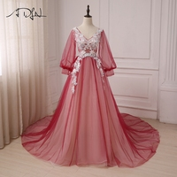 ADLN Hot Selling Long Sleeves Evening Dresses Court Train Tulle A Line Formal Party Evening Gowns