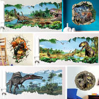 3d Dinosaurs Wall Stickers Home Decoration Cartoon Living Room Jurassic Period Animals Print Decal Mural Art Poster Peel & Stick