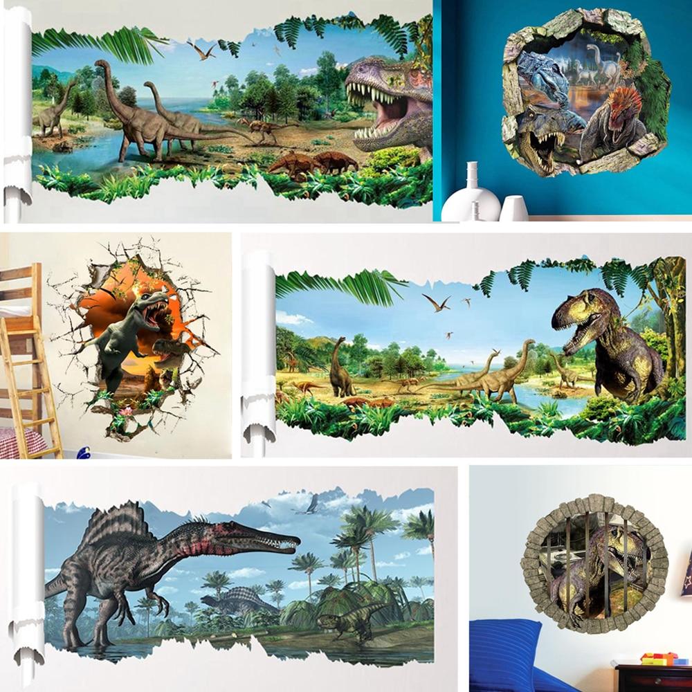 3d dinosaures Stickers muraux décoration de la maison dessin animé salon jurassique période animaux imprimer décalcomanie Art Mural affiche Peel & Stick