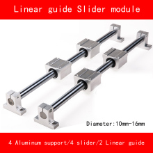 Linear slide module 8-16mm 2 piece linear rail guide length 300mm-1000mm 4 piece linear block 4 aluminum alloy support tbr16 linear guide rail 1pc tbr16 300mm linear rail 2pcs tbr16uu flange linear slide block