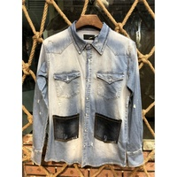 Excellent washed Mens Denim Shirt Long Sleeve Cotton Jeans Cardigan Casual Slim Fit Shirts Men Two pocket Tops Clothing M 3XL
