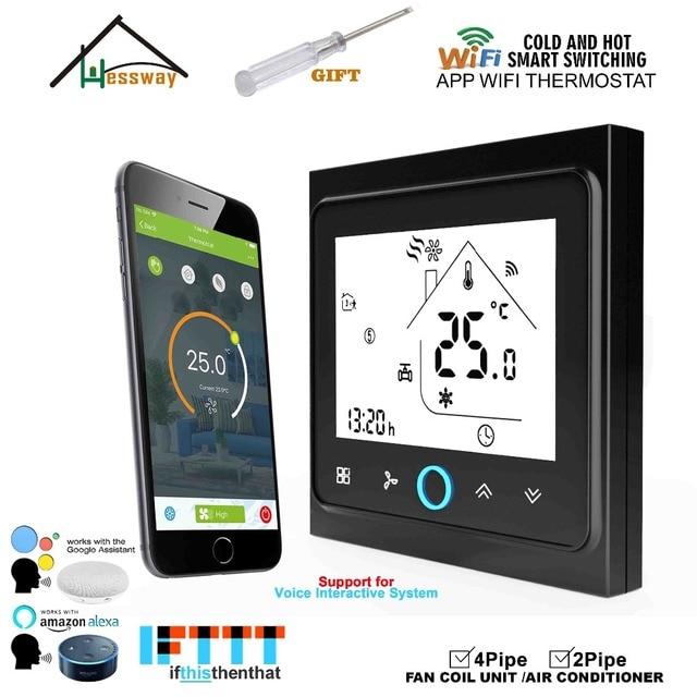 HESSWAY 2P4P Calefacción de refrigeración de la bobina del ventilador wifi ajuste termostato integrada con Amazon Echo Google a casa. tmall genio IFTTT