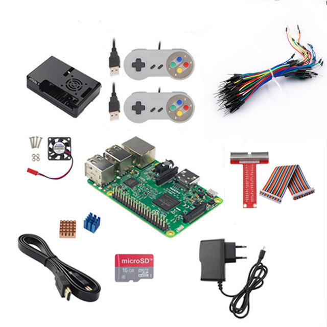 US $97 7 |Raspberry Pi 3 +16G SD Card +Power Adapter + Game Controller+HDMI  Cable+Case+ Heat Sink+GPIO Cable+ GPIO Boaed+ Fan + Jump Wires-in Demo