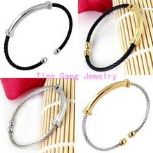 Top Quality Silver & Yellow Gold & Black 60 MM Cable Bracelet Bangle Charm Vintage 316L Stainless Steel Rope Fashion Jewelry