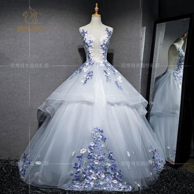 100%real studio silver light grey petals fancy fairy ball gown ...