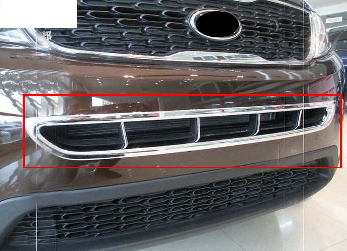 Hot Chrome Front Grille Cover Trim for KIA SORENTO 2014 free shipping stainless steel front grille around trim racing grills trim for 2011 2012 kia rio k2